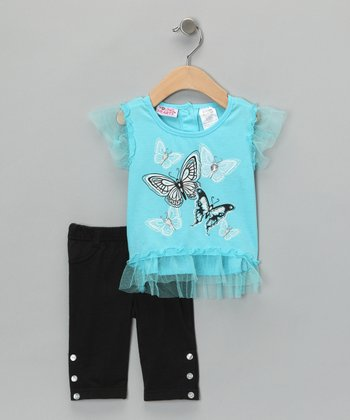 Aqua Butterfly Tulle Top & Black Pants - Infant & Girls