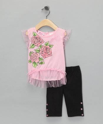 Pink Rose Tulle Top & Black Pants - Infant