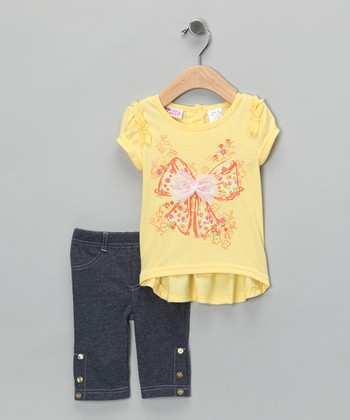 Yellow Tulle Bow Tunic & Leggings - Infant & Toddler