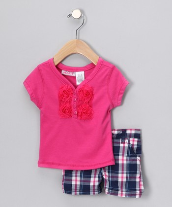 Hot Pink Rose Henley & Navy Plaid Shorts - Infant & Toddler