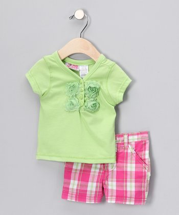 Young Hearts Green Rose Henley & Pink Plaid Shorts - Infant & Toddler