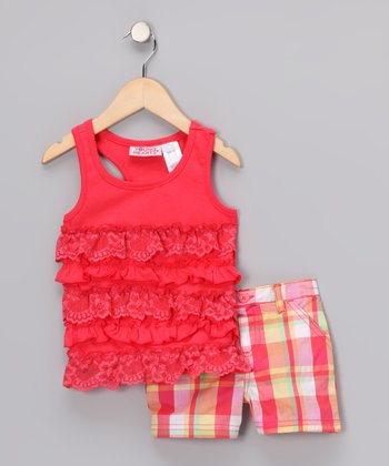 Young Hearts Red Ruffle Tank & Plaid Shorts - Infant