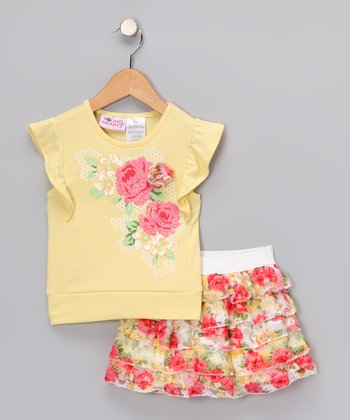 Yellow Flower Angel-Sleeve Tee & Skirt - Infant