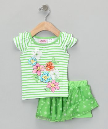 Pastel Green Stripe Tee & Skirt - Infant