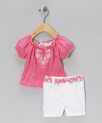 Young Hearts Pink Floral Peasant Top & White Shorts - Infant