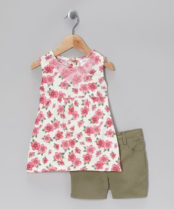 Pink Floral Tunic & Olive Green Shorts - Infant & Toddler