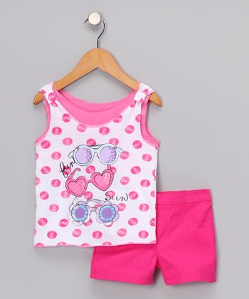 Young Hearts Pink 'Fun Sun' Tank & Shorts - Infant