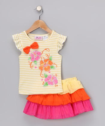 Yellow Stripe Hibiscus Angel-Sleeve Tee & Tier Skirt - Infant