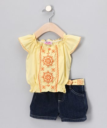 Yellow Peasant Top & Denim Shorts - Toddler