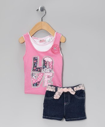 Pink 'Love' Tank & Black Shorts - Infant