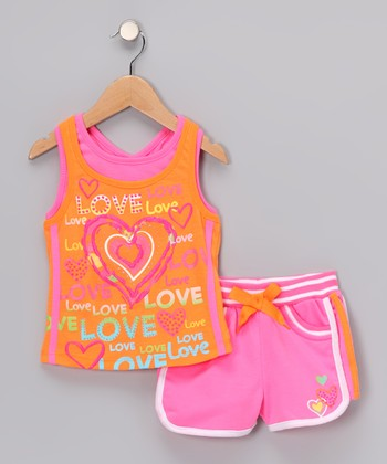 Orange Heart Vintage Tank & Shorts - Infant