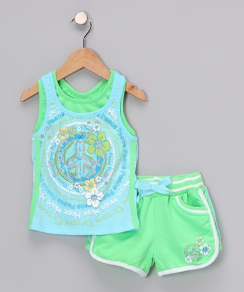 Green Swirl Vintage Tank & Shorts - Infant
