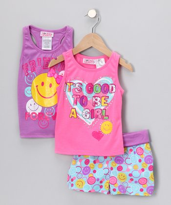 Purple Smiley Face Shorts Set - Infant