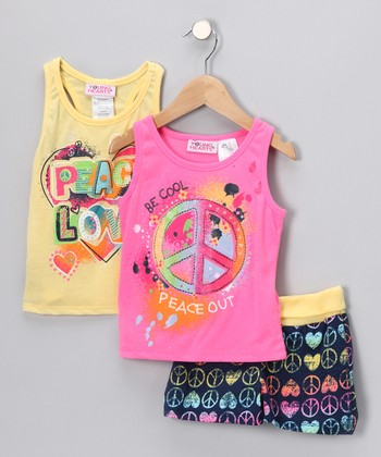 Yellow Peace Sign Shorts Set - Infant