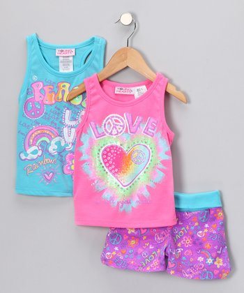 Pink 'Love' Shorts Set - Infant