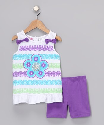 Purple Stripe Ruffle Tank & Shorts - Infant & Toddler