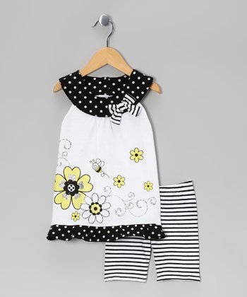 Black & White Bee Yoke Tunic & Stripe Shorts - Infant