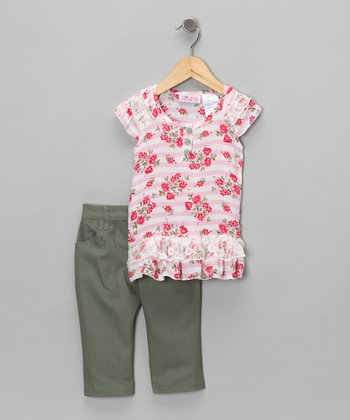 Pink Stripe Rose Top & Pants - Toddler & Girls