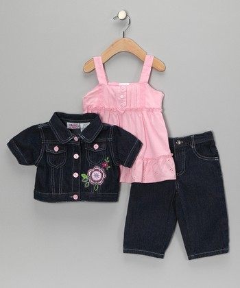 Pink Flower Jacket Set - Toddler & Girls