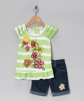 Green Flower Ruffle Tunic & Denim Shorts - Toddler