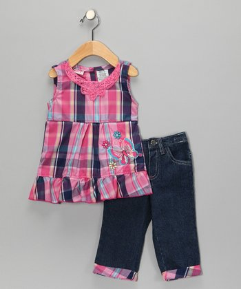 Pink Plaid Butterfly Swing Top & Jeans - Infant & Girls