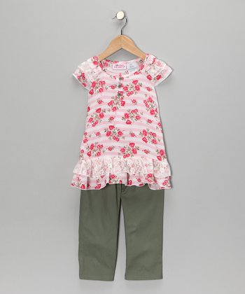 Pink Flower Stripe Tunic & Pants - Girls