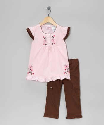 Light Pink Butterfly Angel-Sleeve Tunic & Olive Pants - Girls