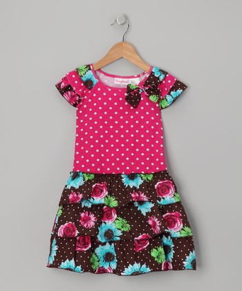 Dark Pink Floral Polka Dot Dress - Girls