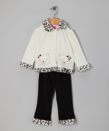 Beige Cheetah Bear Jacket & Pants - Infant