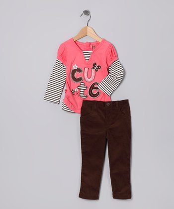 Light Orange 'Cute' Layered Tee & Pants - Infant