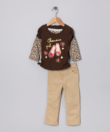 Brown 'Glamour' Layered Tee & Pants - Infant