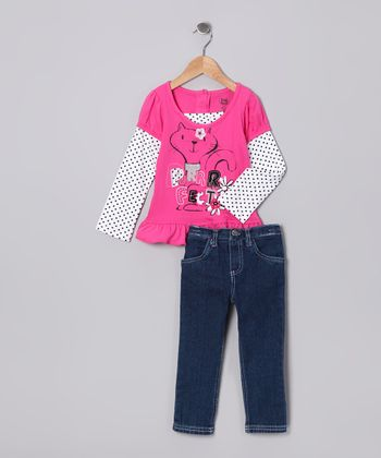 Dark Pink Cat Layered Tunic & Jeans - Infant