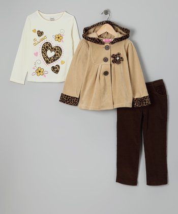 Beige Cheetah Jacket Set - Infant