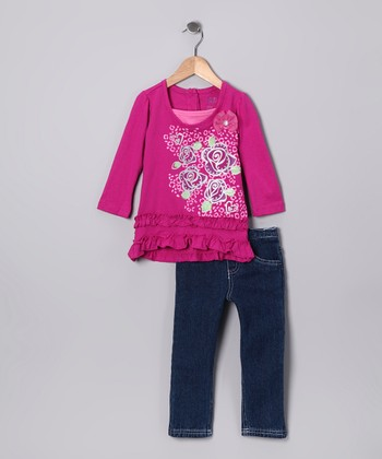 Dark Pink Flower Tunic & Jeans - Infant