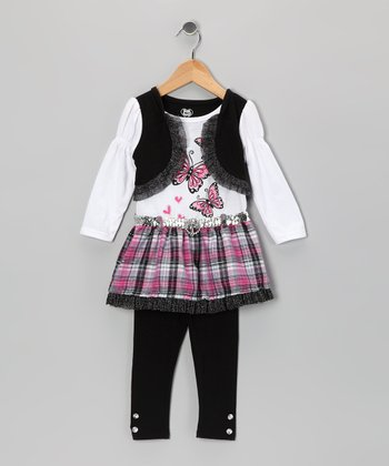 White Layered Tunic & Black Leggings - Infant, Toddler & Girls