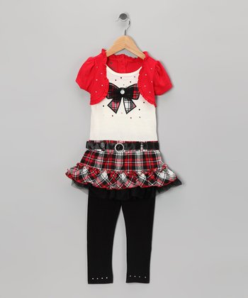 Red Bow Layered Tunic & Black Leggings - Infant, Toddler & Girls