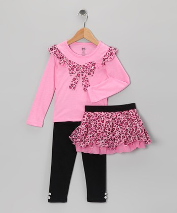 Bright Pink Leopard Bow Tee Set - Infant & Girls