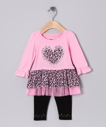 Pink Heart Cheetah Tunic & Leggings - Girls