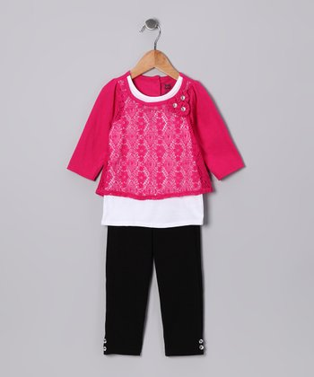 Dark Pink Lace Layered Tunic & Leggings - Toddler