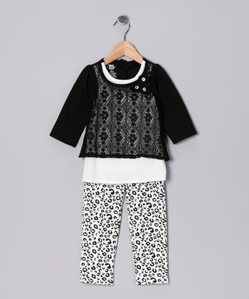 Black Lace Layered Tunic & Leggings - Infant & Toddler