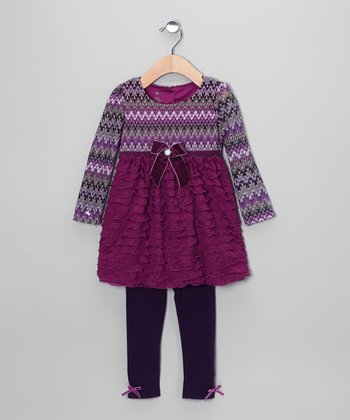 Dark Purple Ruffle Tunic & Leggings - Infant & Toddler