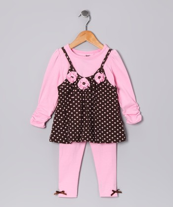 Pink Rosette Bubble Tunic & Leggings - Infant
