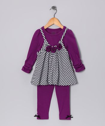 Purple Zebra Bubble Tunic & Leggings - Infant