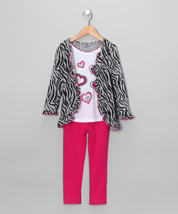 Gray Zebra Heart Cardigan Set - Infant & Toddler