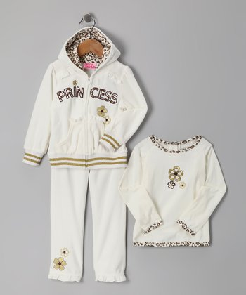 Beige 'Princess' Zip-Up Hoodie Set - Girls