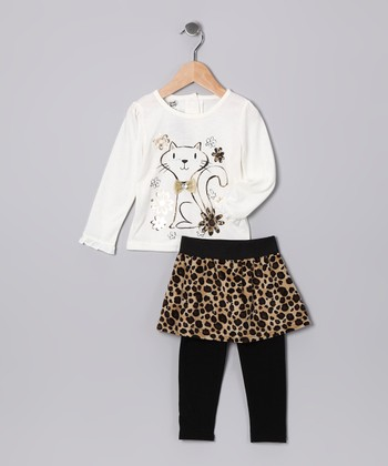 Beige Cheetah Cat Tee & Skirted Leggings - Infant & Toddler