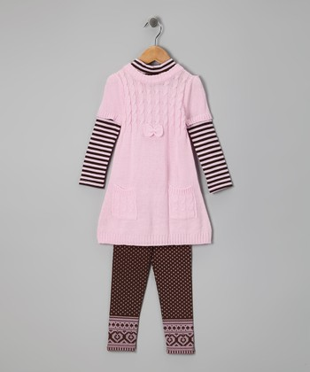 Light Pink Cable-Knit Layered Tunic & Leggings - Infant & Toddler
