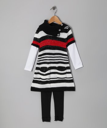 Black Stripe Layered Tunic & Leggings - Infant & Toddler