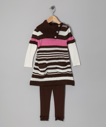 Beige Stripe Layered Tunic & Leggings - Infant, Toddler & Girls