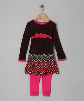 Brown Zigzag Tunic & Leggings - Girls